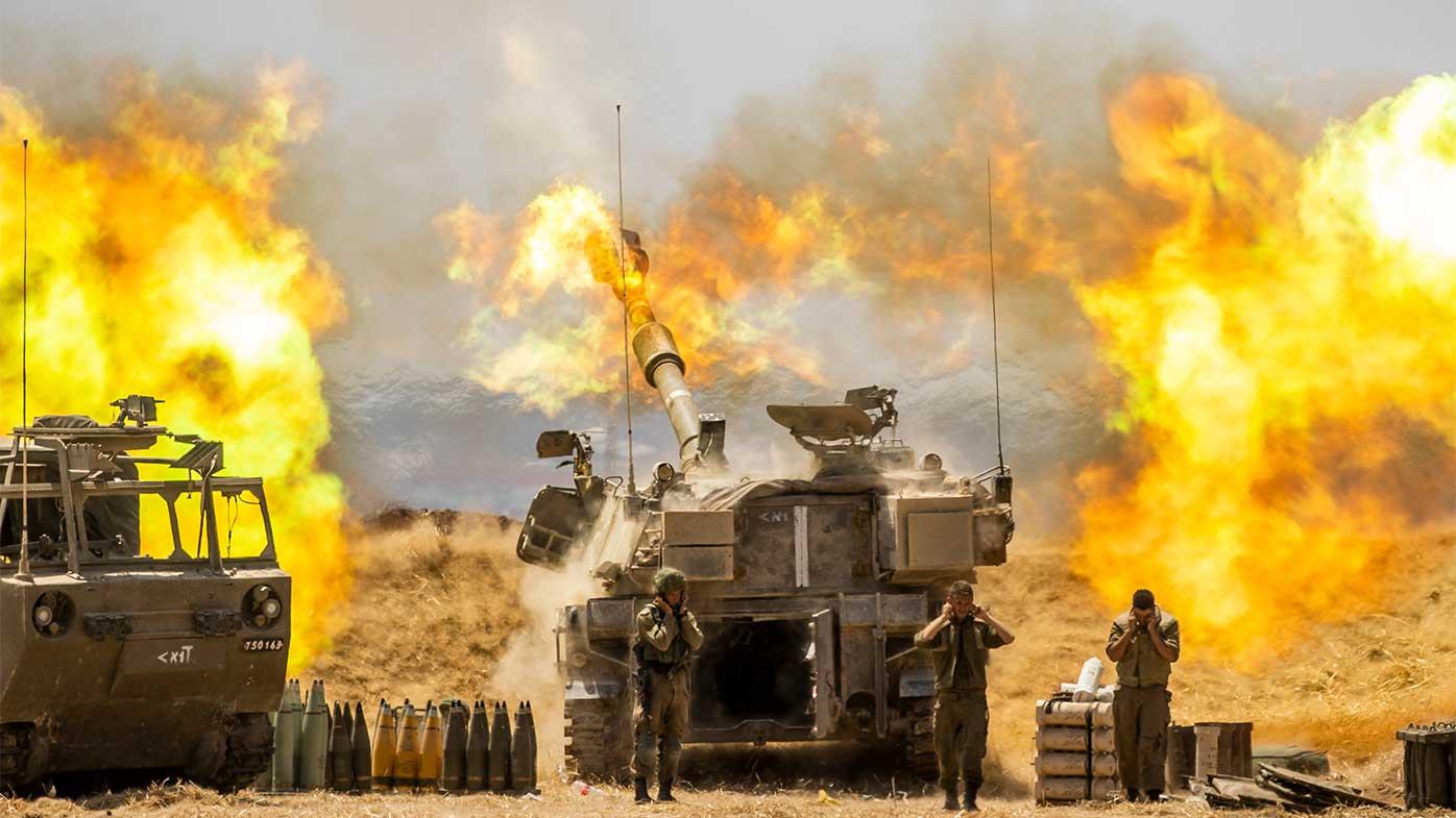 Israeli artillery fires into the Gaza Strip.