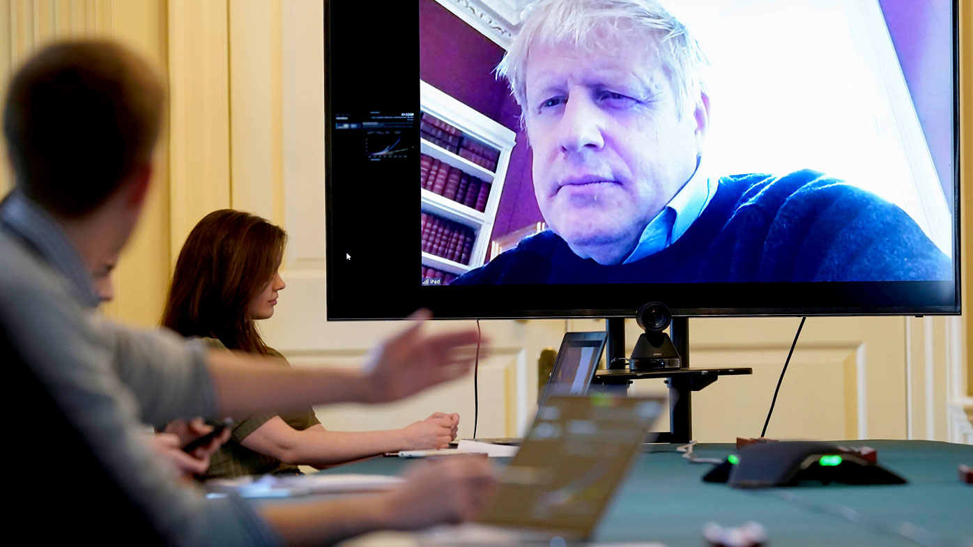 Boris Johnson had been running the country from self-isolation via video meetings.