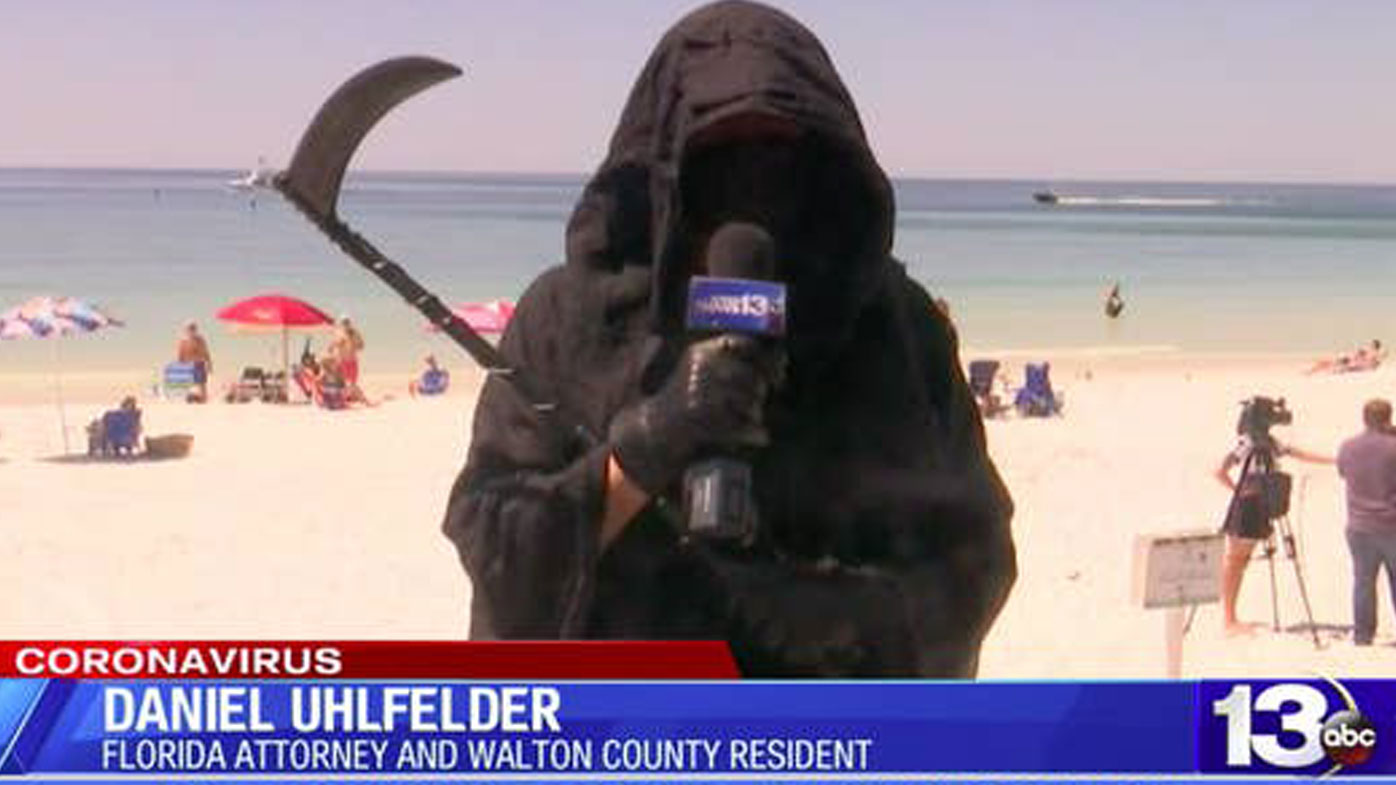 Bizarre TV interview with 'Grim Reaper' goes viral