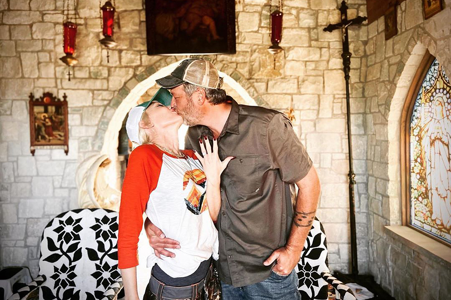 Gwen Stefani and Blake Shelton were engaged in October 2020 in the chapel on his Oklahoma property.