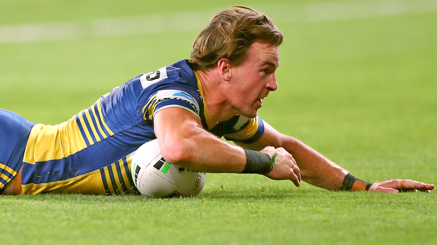 Clinton Gutherson of the Eels scores a try