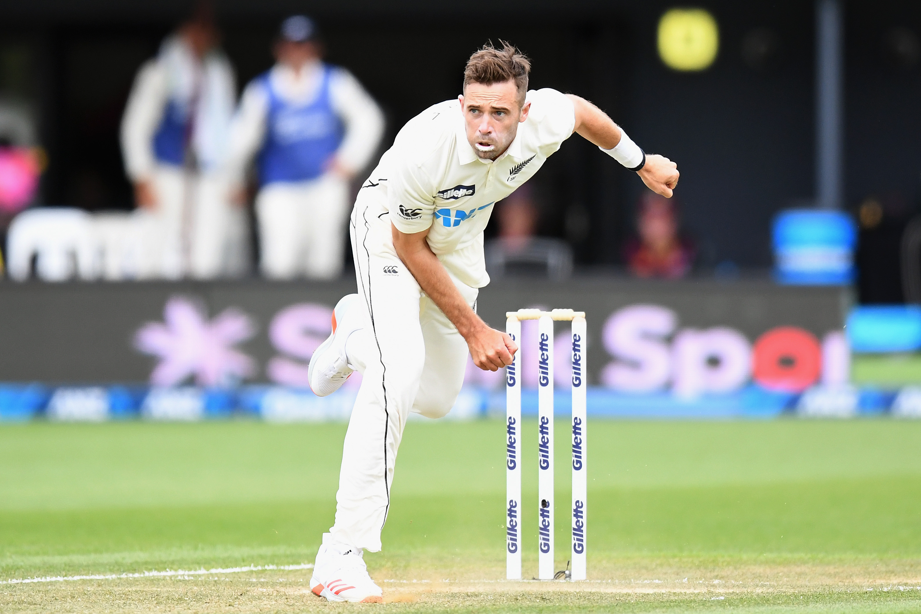 Tim Southee of New Zealand bowls during day three.