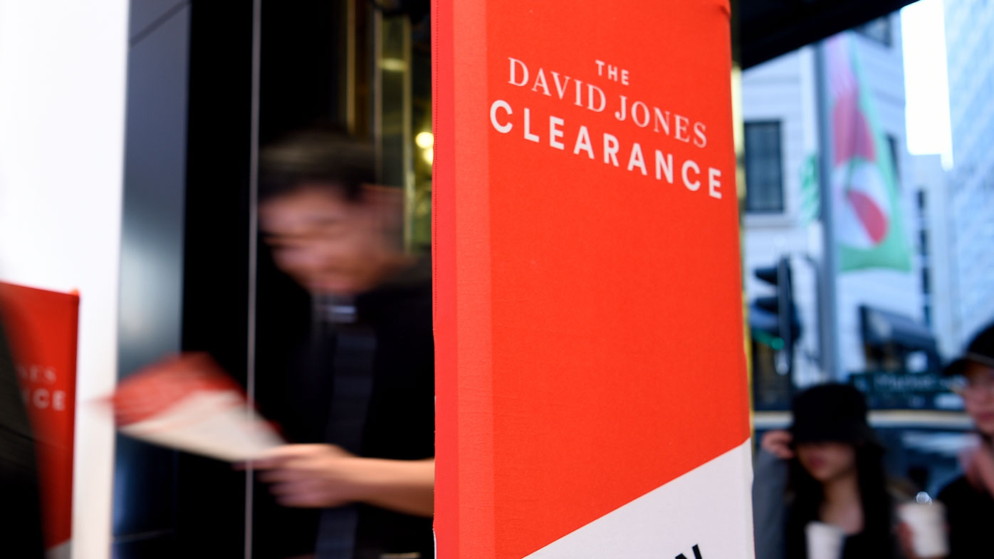 The first shoppers enter David Jones Elizabeth Street Flagship store at 6am for Boxing Day sales in Sydney, Thursday, December 26, 2019.