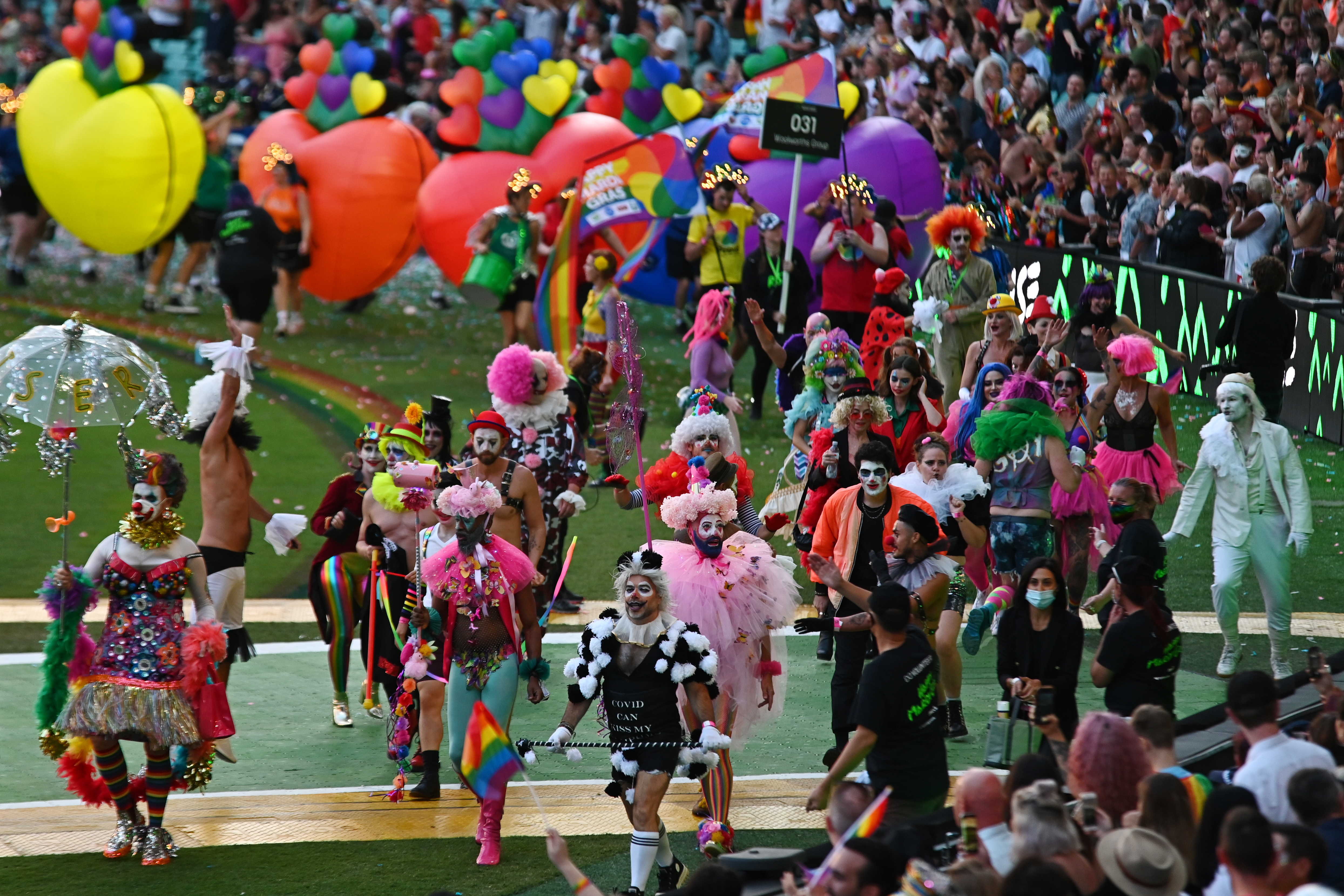 The 43rd Sydney Gay and Lesbian Mardi Gras Parade at the Sydney Cricket Ground (SCG) in Sydney. 6th March 2021
