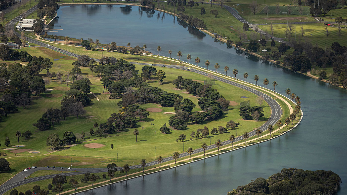 The Albert Park circuit in Melbourne, without all the Formula One infrastructure.