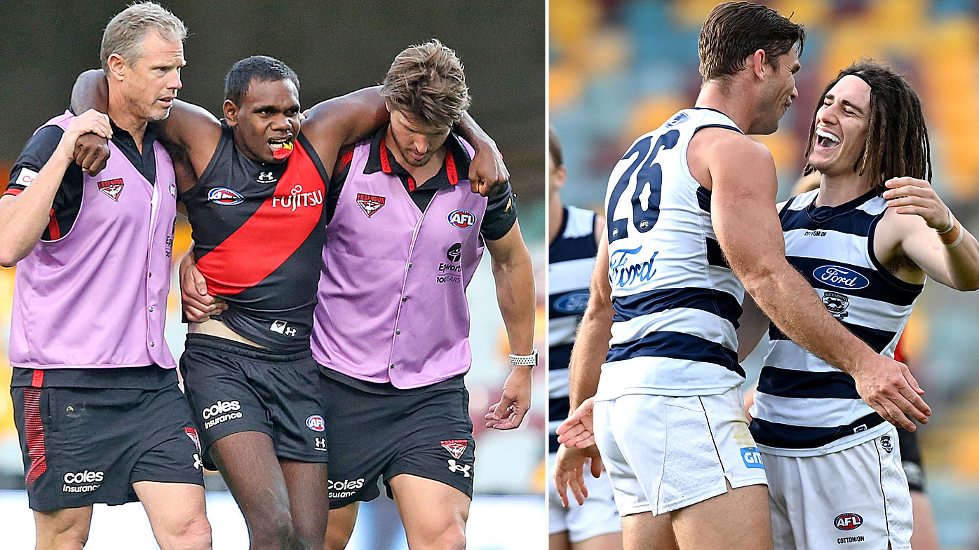 Afl Essendon Bombers Star Irving Mosquito Limps Off As Geelong Cats Claim Sixth Straight Win Tom Hawkins