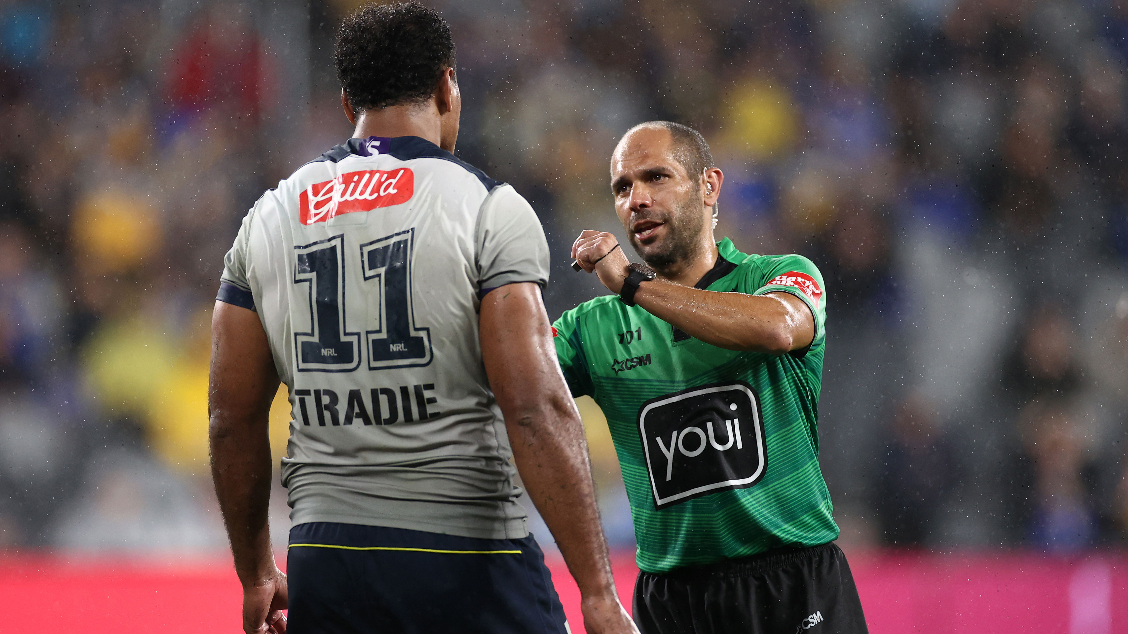 Felise Kaufusi is placed on report by referee Ashley Klein for a high hit on Ryan Matterson.