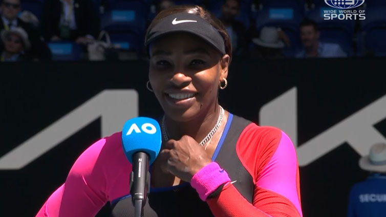Serena Williams during her post-match interview with Jelena Dokic.