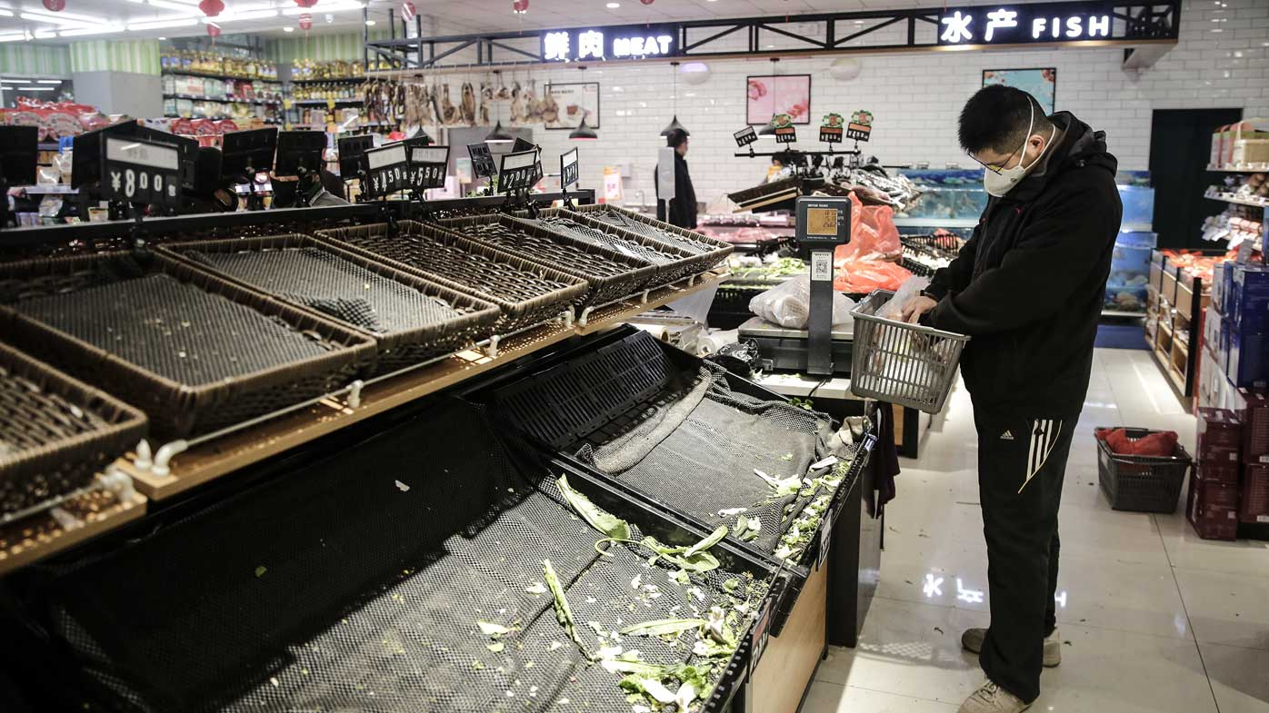 Supermarket shelves in Wuhan were stripped of produce when the coronavirus epidemic broke out.