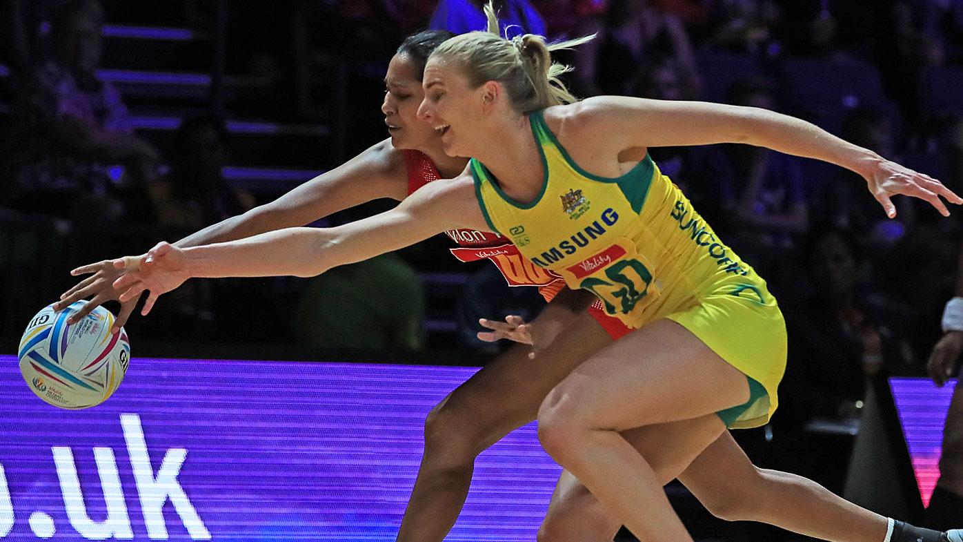 Australia's April Bradley and Sri Lanka's Elilenthinie Sethukavalar during the Netball World Cup match