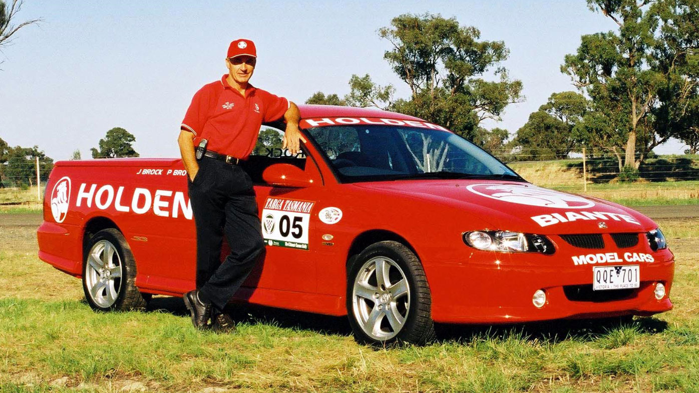 Peter Brock with Holden Commodore ute.