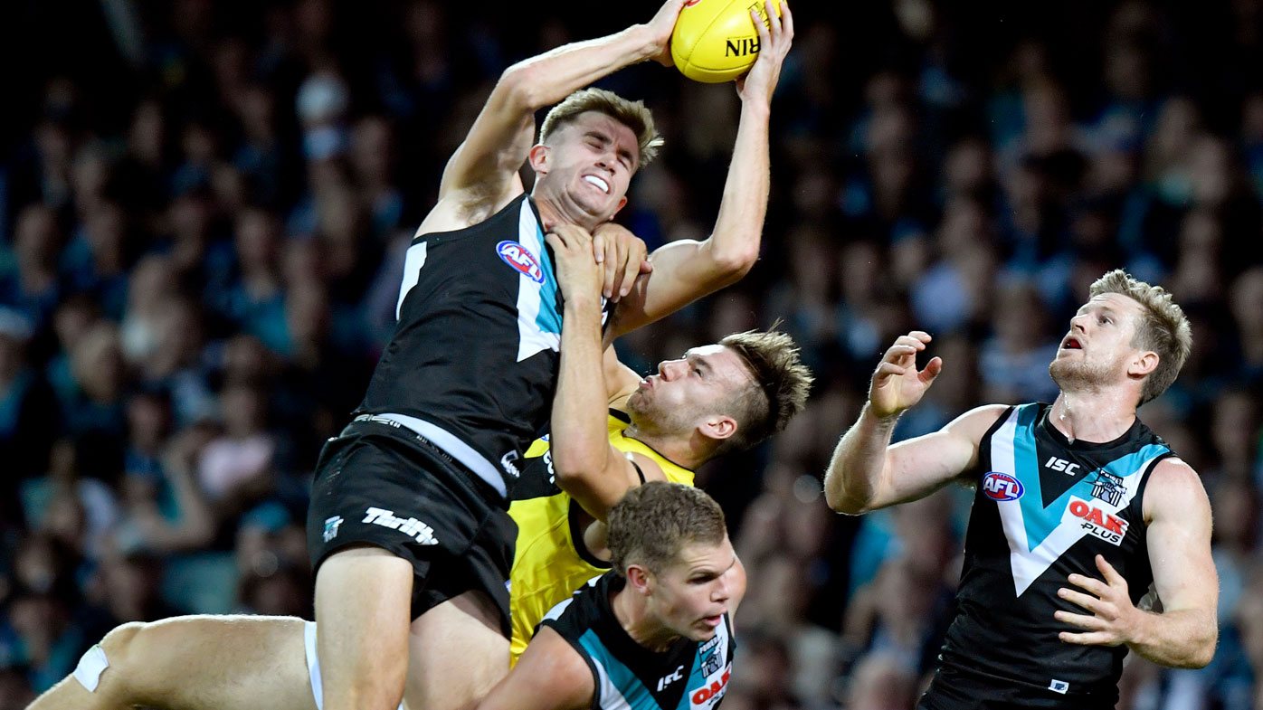Dougal Howard of Port Adelaide marks