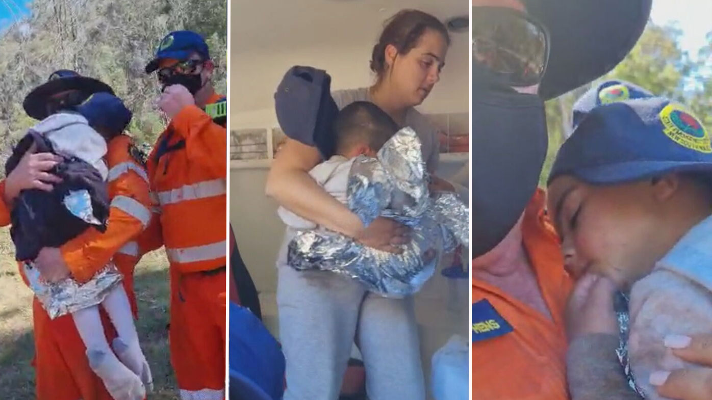 The moment little AJ was reunited with his mum, after SES members found the child sitting in a creek bed.