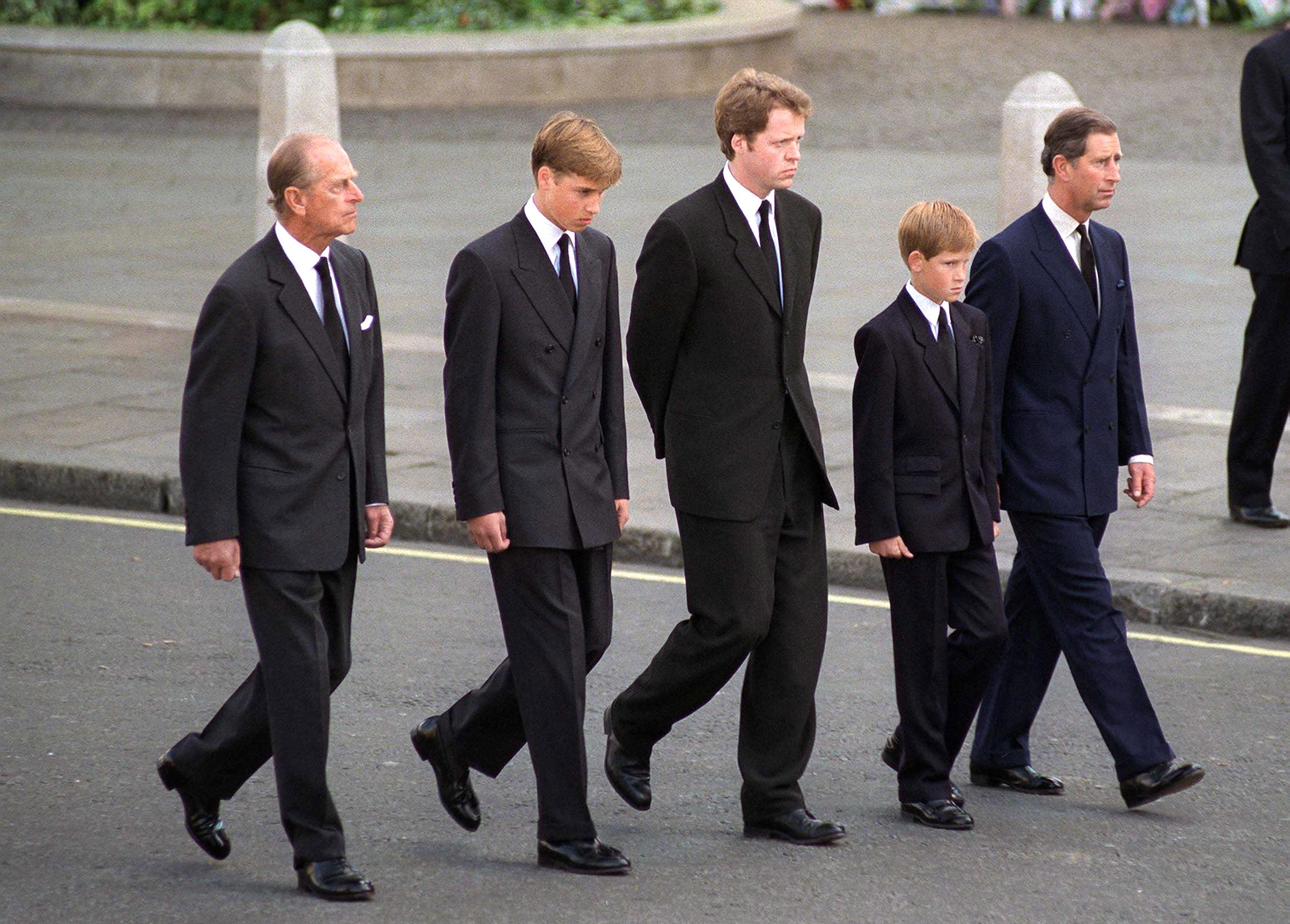 The Duke Of Edinburgh, Prince William, Earl Spencer, Prince Harry And The Prince Of Wales Following The Coffin Of Diana, Princess Of Wales  (Photo by Tim Graham Photo Library via Getty Images)