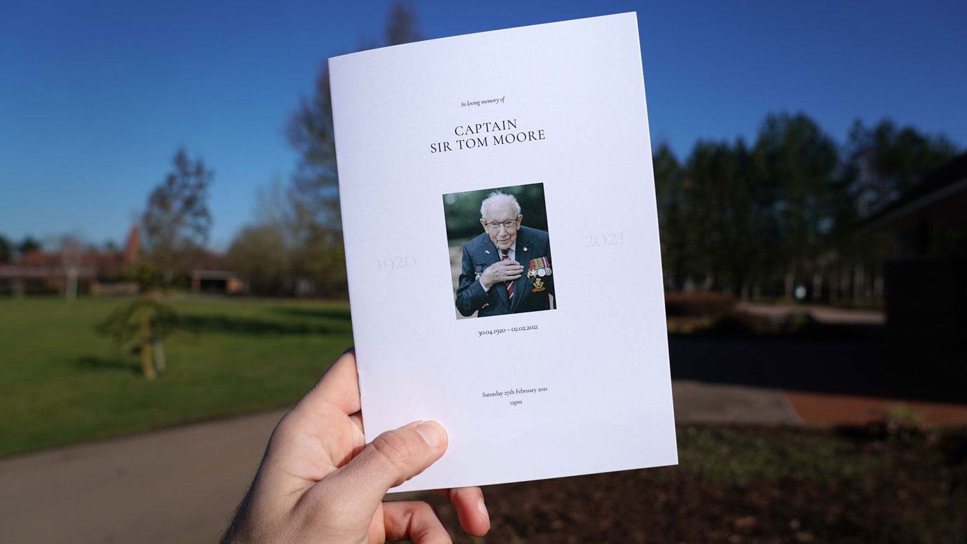 (No reuse after 11.59pm on March 6th 2021 without written consent from gemma@captaintom.org.) The Order of Service for the funeral of Captain Sir Tom Moore at Bedford Crematorium on February 27, 2021 in Bedford, England