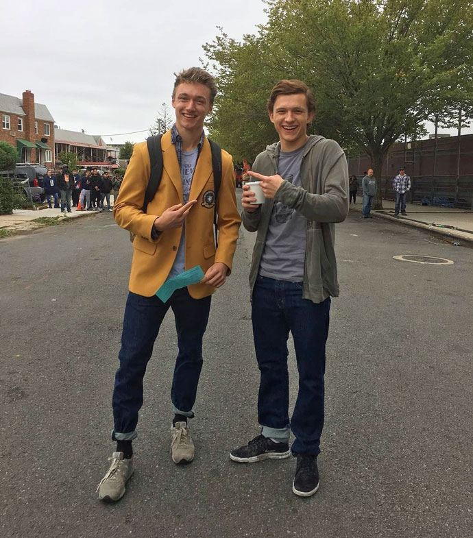 Harrison Osterfield (left) with Tom Holland (right)