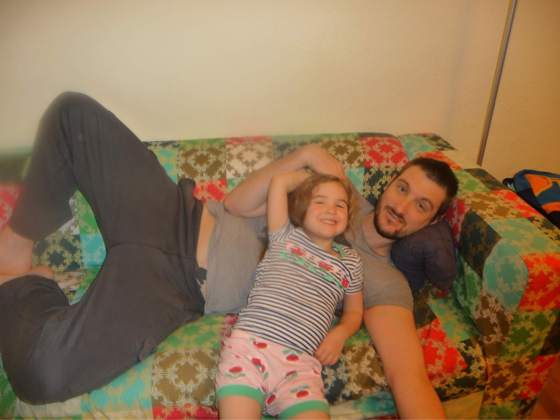 Leigh with his daughter in Germany. He was bedridden for two weeks of their trip.