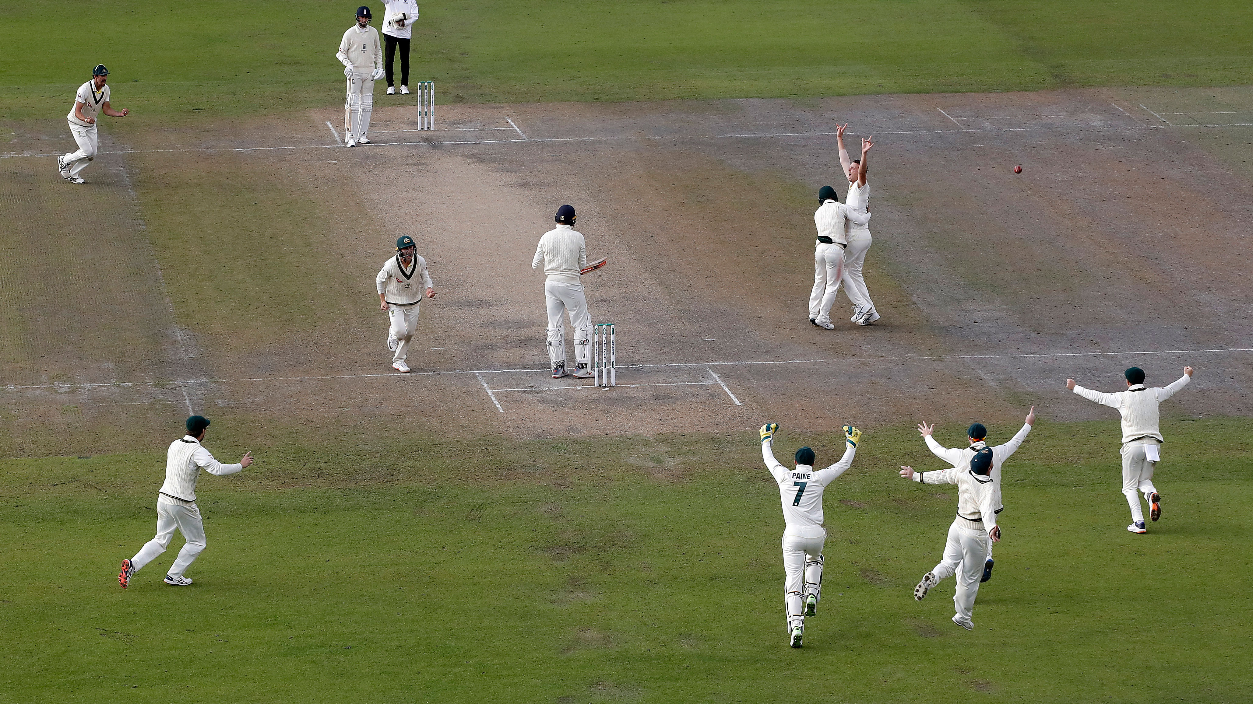 Josh Hazlewood and the Australian team react to the wicket that sealed the retention of the Ashes, Craig Overton, out lbw for 21.