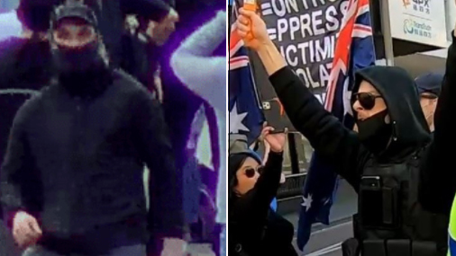 Two men Victoria Police want to speak to in connection with the release of flares.
