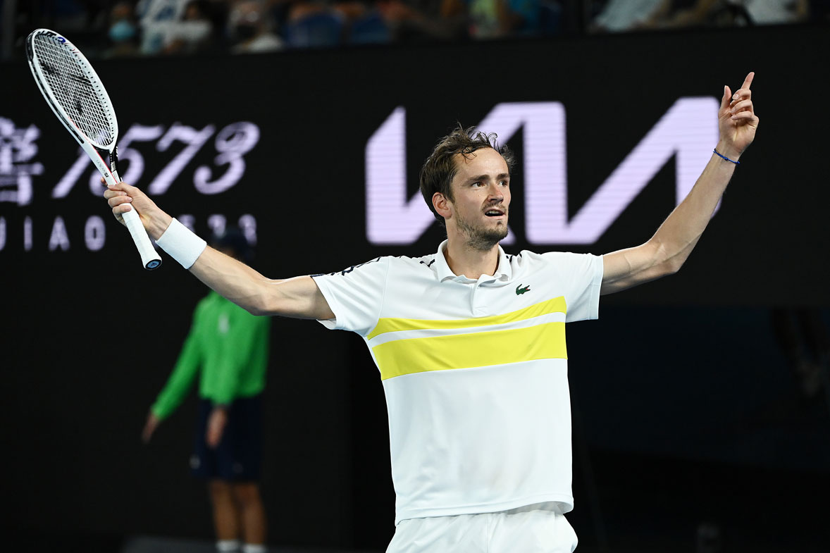 Daniil Medvedev of Russia celebrates after winning a game in his Men's Singles Semifinals match against Stefanos Tsitsipas of Greece during day 12 of the 2021 Australian Open at Melbourne Park on February 19, 2021 in Melbourne, Australia