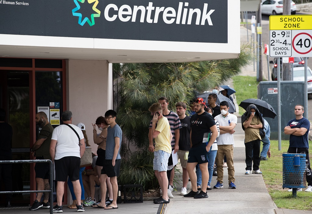 A line of unemployed Australians at Centrelink in Rockdale, Sydney.
