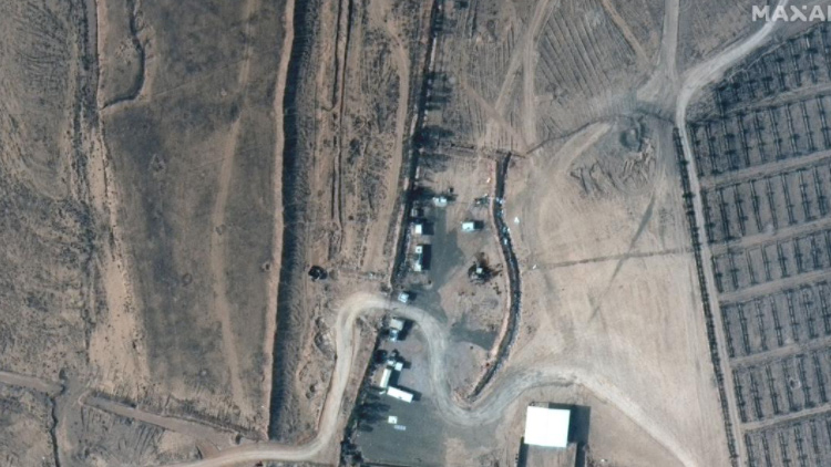 This satellite image shows the scene on the ground before the bombs were dropped.