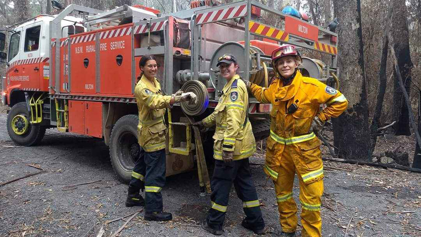 Claire O'Neill (right) with members of the Milton Brigade.