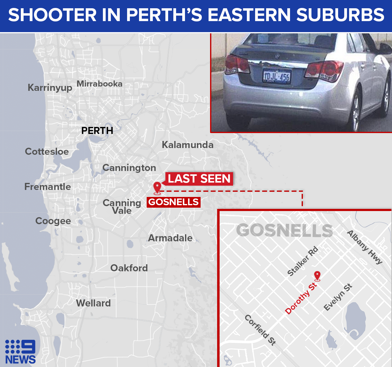 The car was last seen in Gosnells.