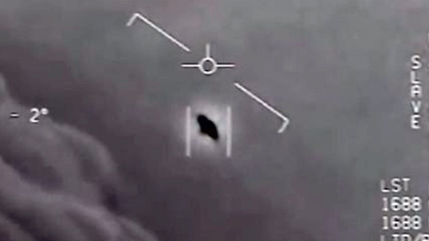 A screenshot from footage of the encounter between US Navy jets and the UFO off the California coast.
