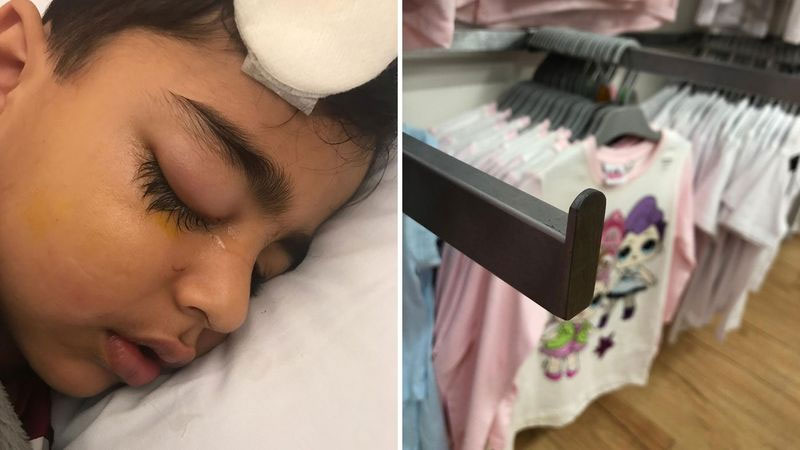 Five-year-old Saad was injured by the same type of hook as Cecilia in Target last year.