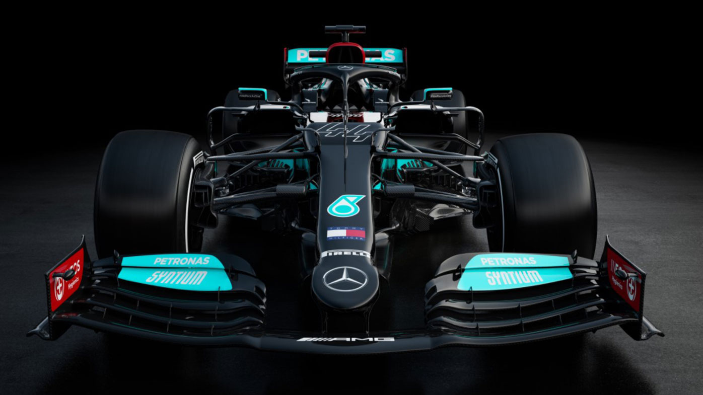 The 2021 Mercedes F1 car, to be driven by Lewis Hamilton and Valtteri Bottas.
