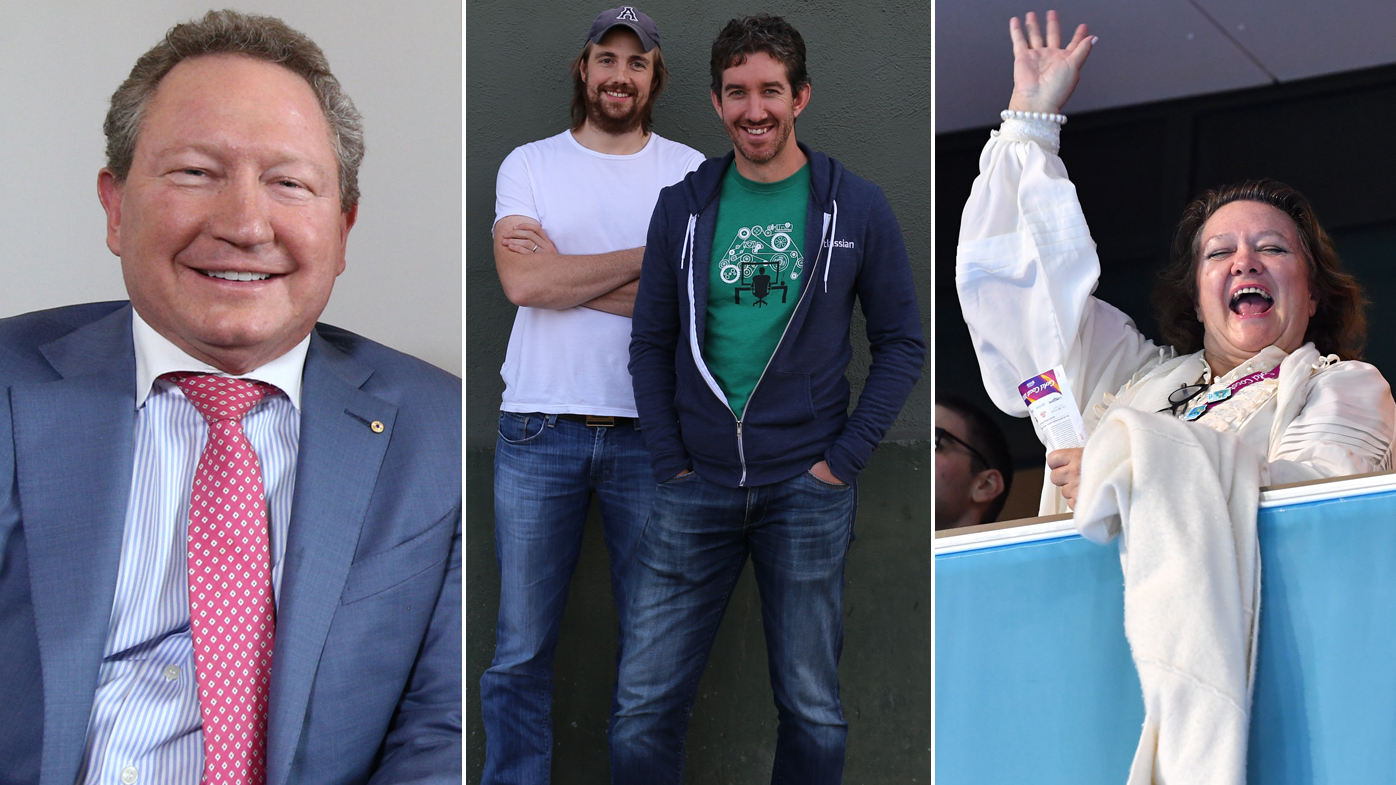 Andrew Forrest, Mike Cannon-Brookes and Scott Farquhar, Gina Rinehart