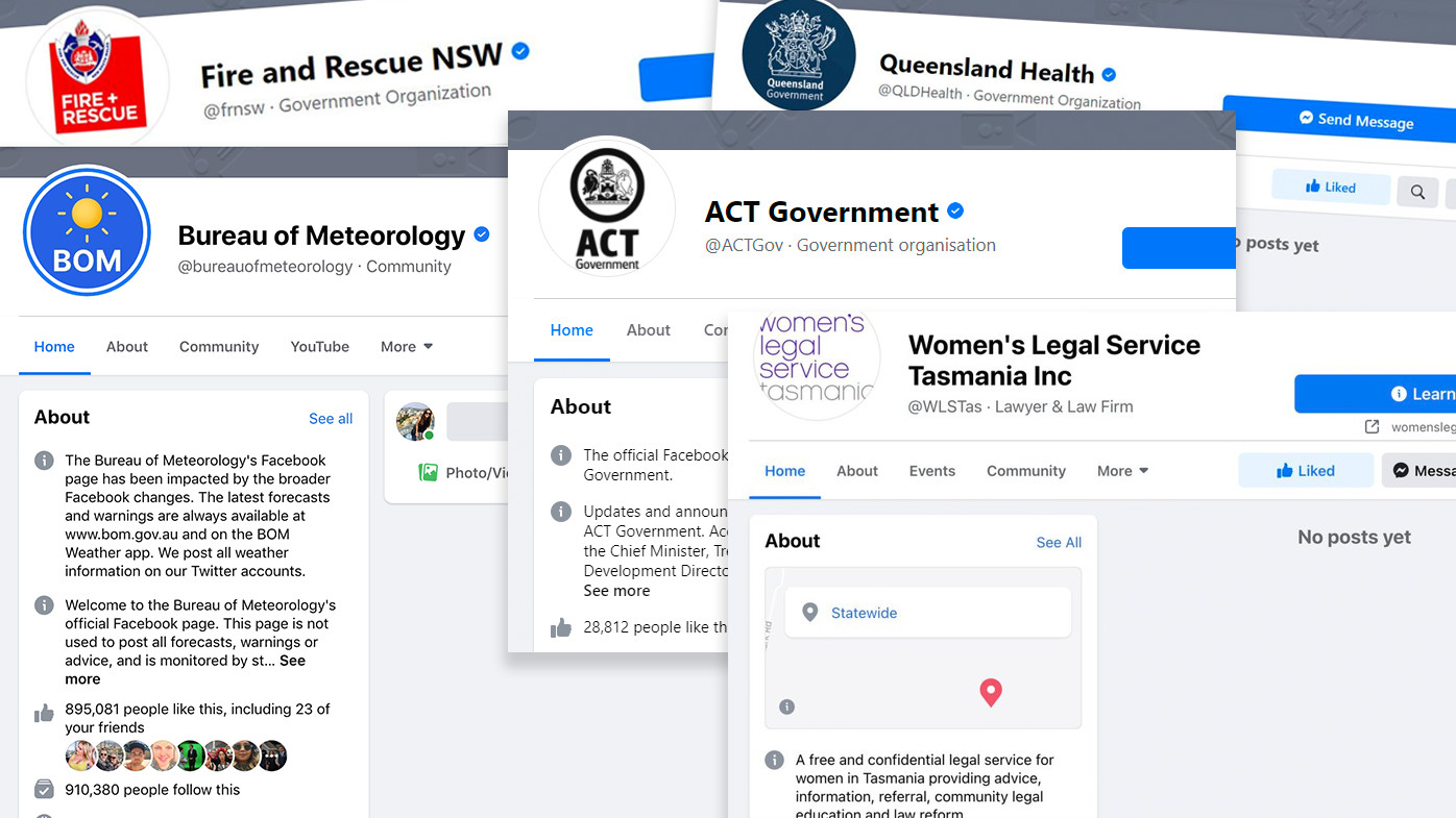 Facebook blocks Australian health and emergency service pages after news ban