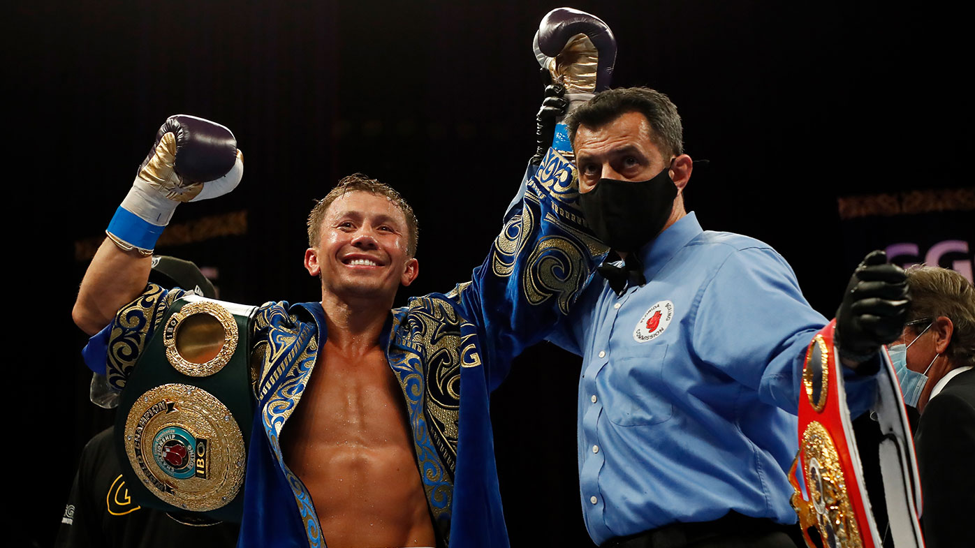 Gennadiy Golovkin celebrates defeating Kamil Szeremeta in their IBF Middleweight title