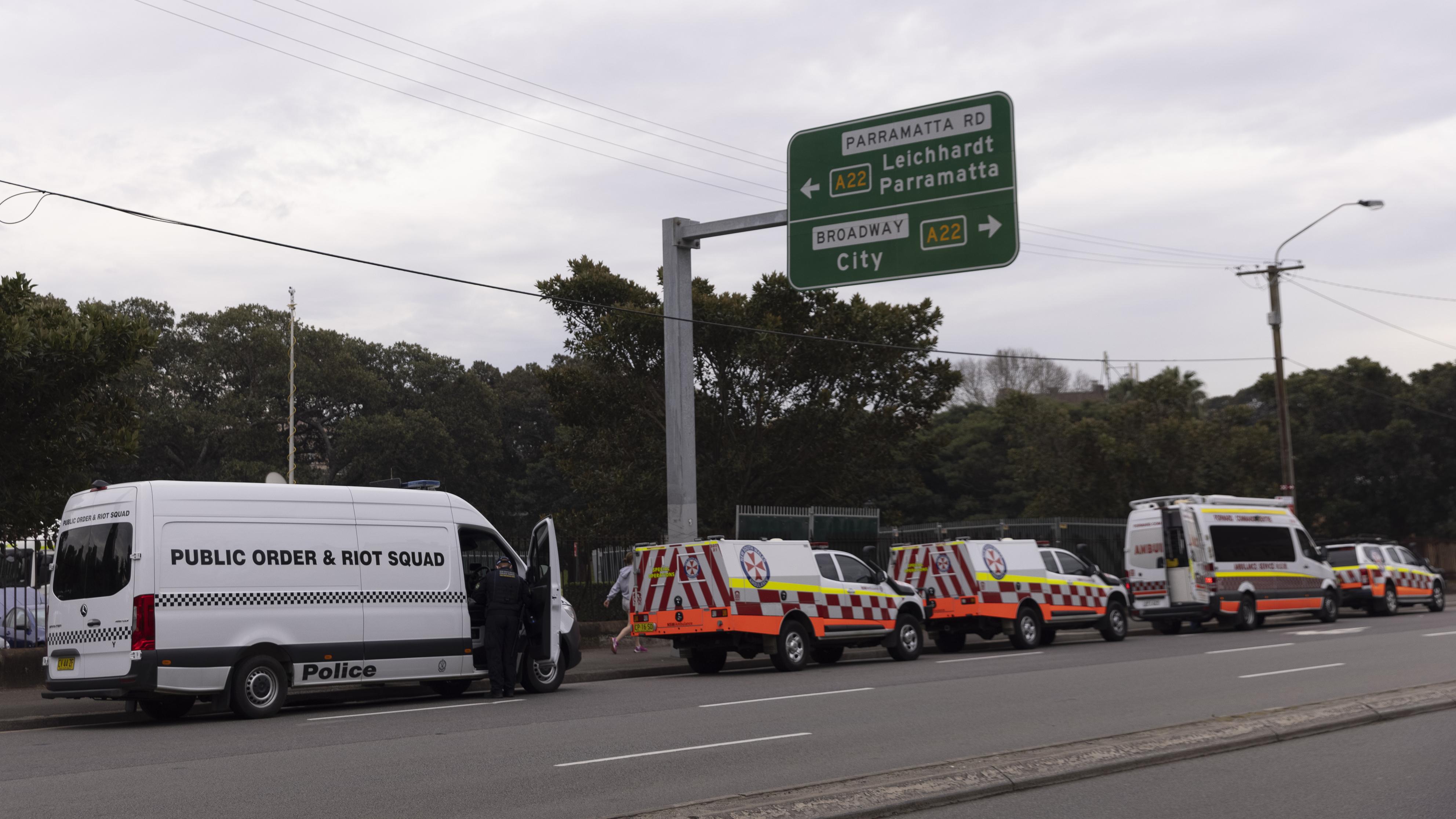 Police setup at Victoria Park, Sydney.