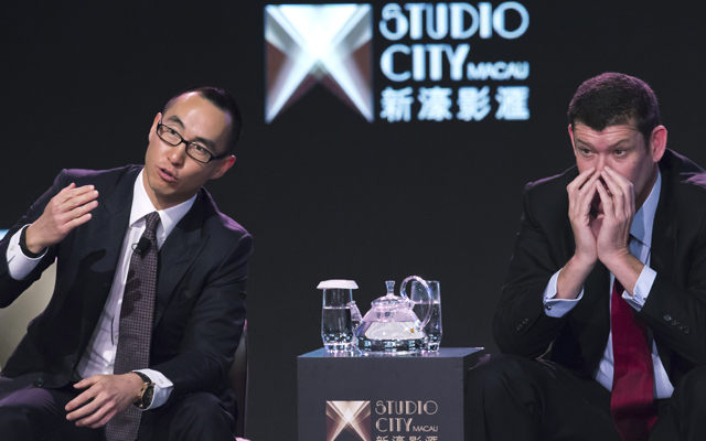 Melco Crown Entertainment co-chairman and chief executive officer Lawrence Ho, left, speaks in 2015 as co-chairman James Packer listens during a news conference about the Studio City project in Macau.