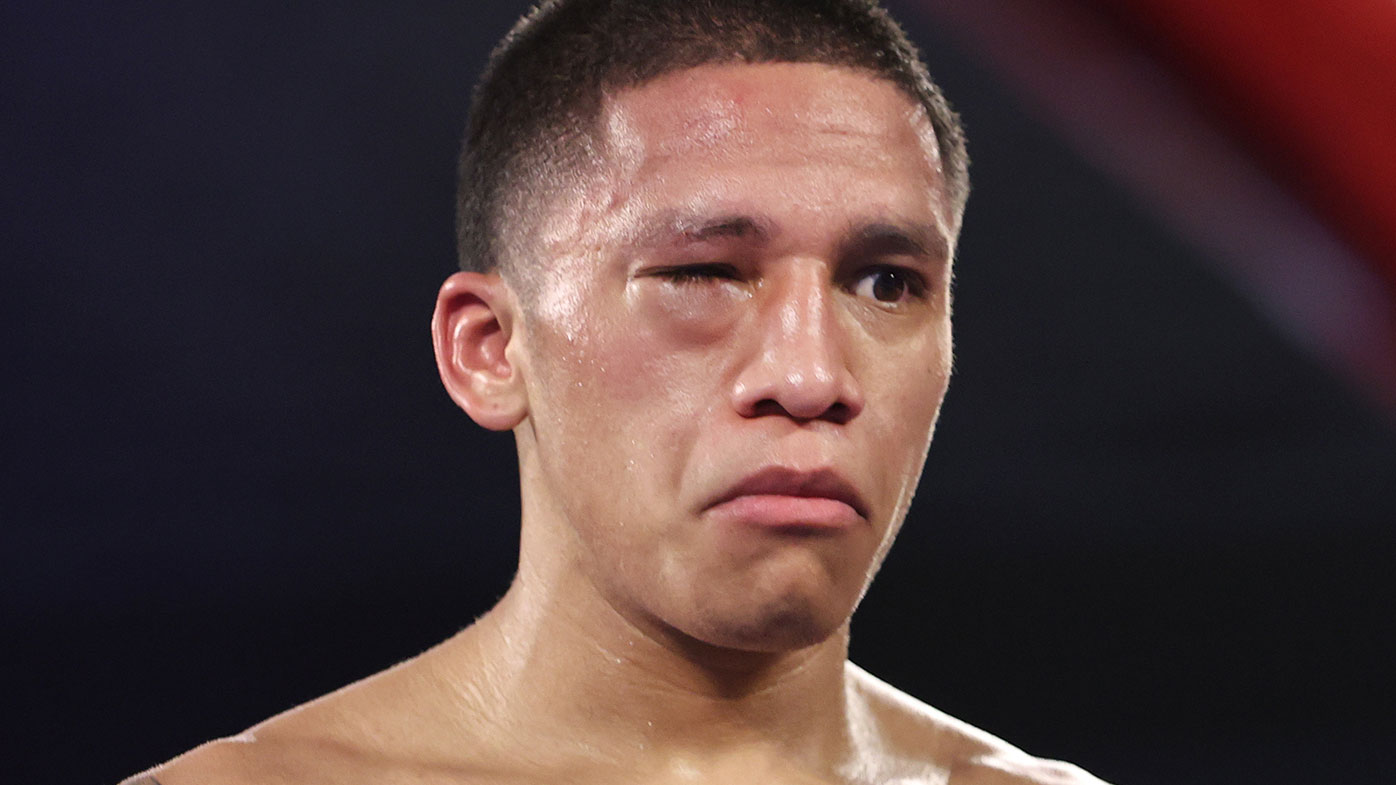 Joshua Franco's swollen eye during fight with Andrew Moloney for the WBA super flyweight title