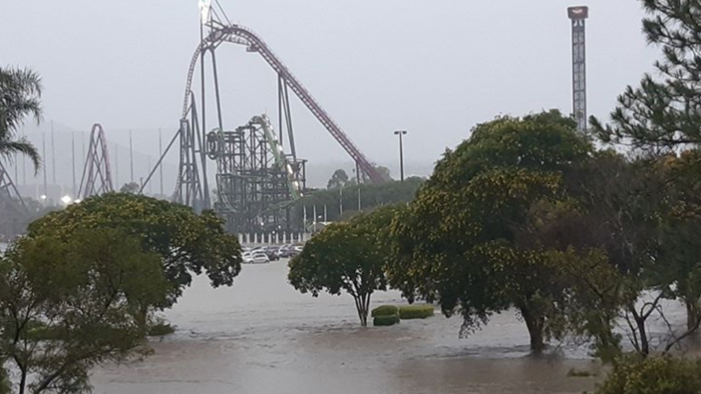 The Movie World carpark on the Gold Coast was completely flooded.