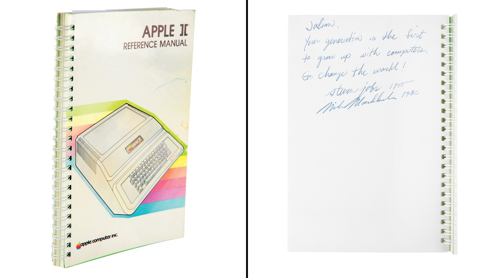 The Apple II manual signed by Steve Jobs and Mike Markkula, an early investor in Apple.