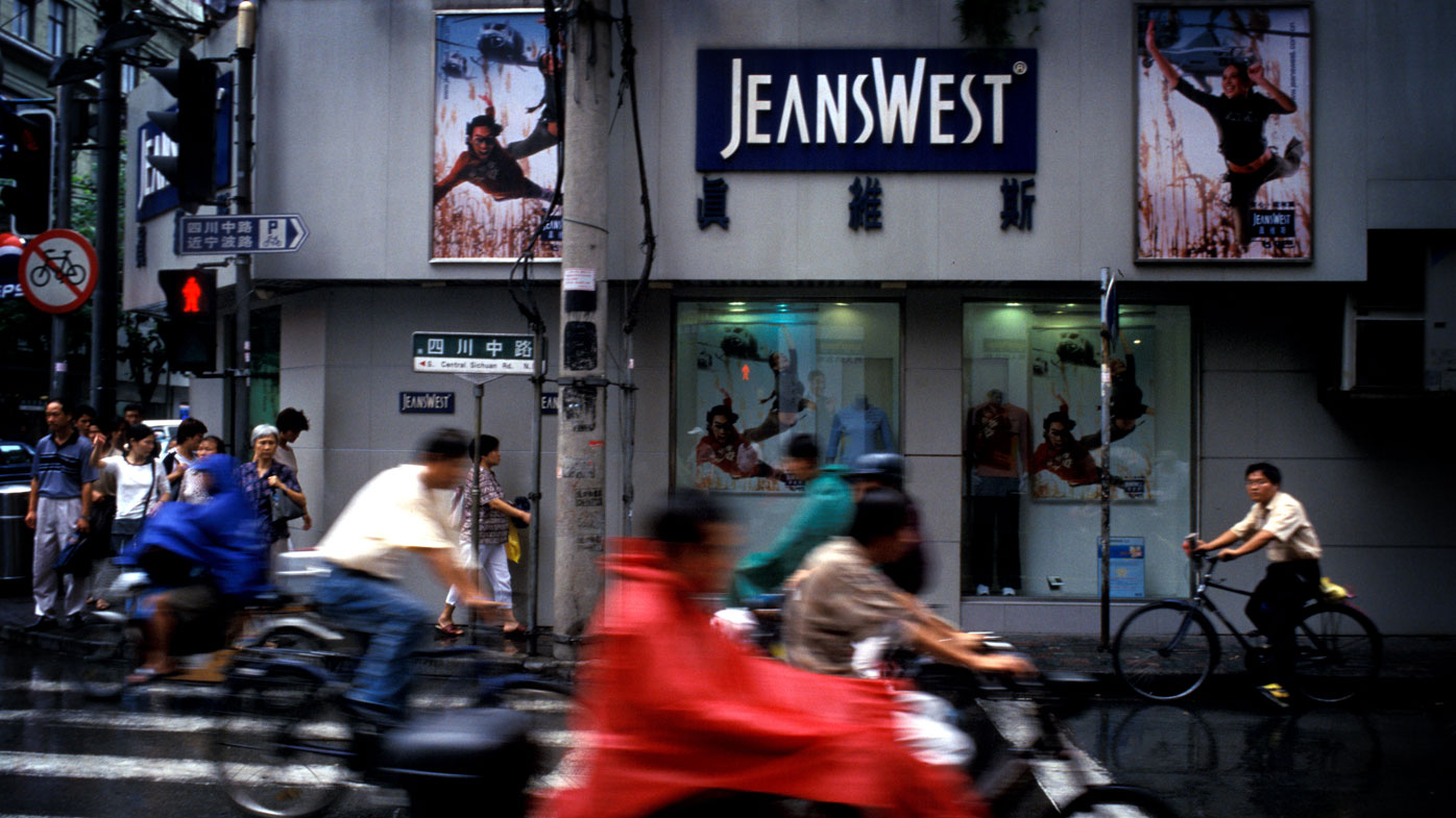 One of the hundreds of Jeanswest stores in China.