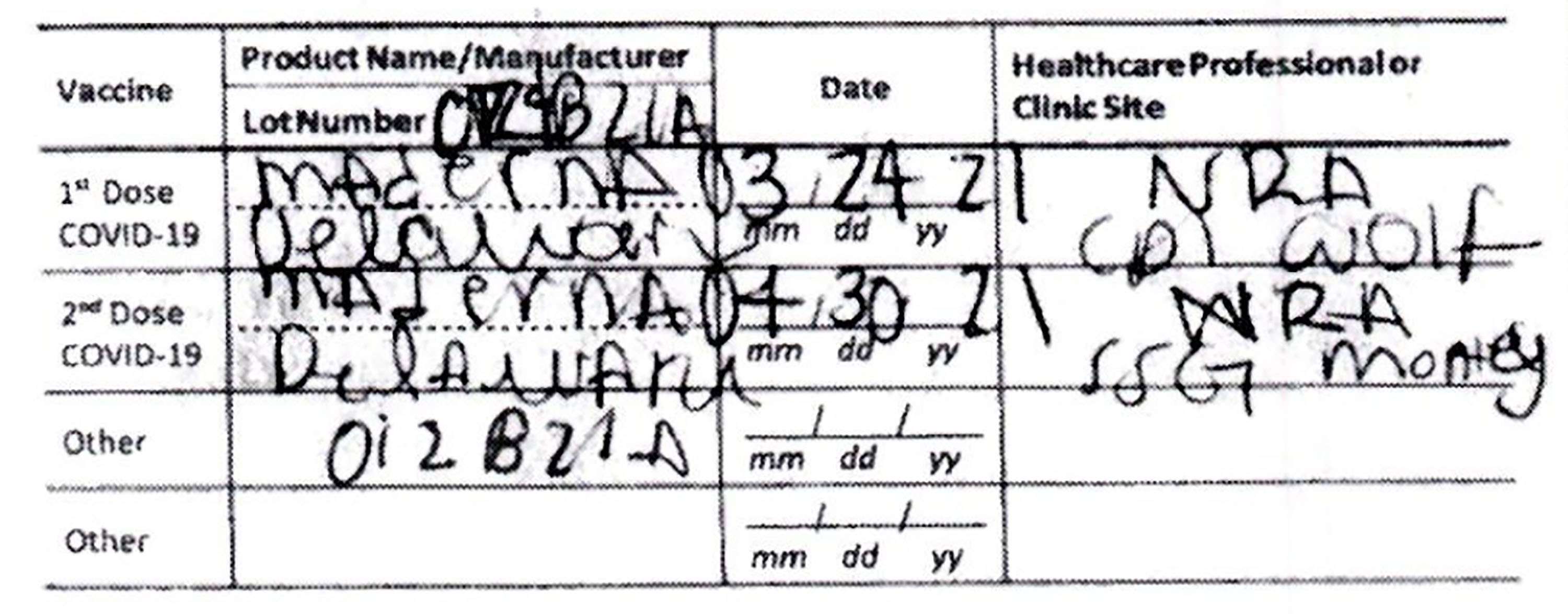This document provided by the Hawaii Attorney General's Office shows a fake COVID-19 Vaccination Record Card from an Illinois woman visiting Hawaii.