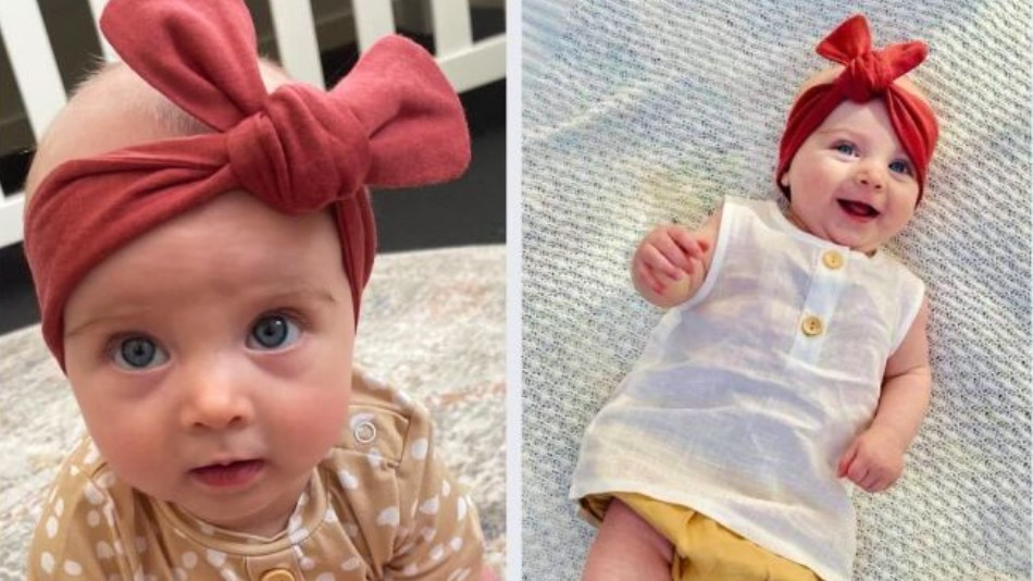 """Five-month-old Mia was being carried by her mother through  Glindemann Park at Holland Park on Sunday before the """"aggressive"""" bird attacked, causing Mia's mother to duck and trip."""