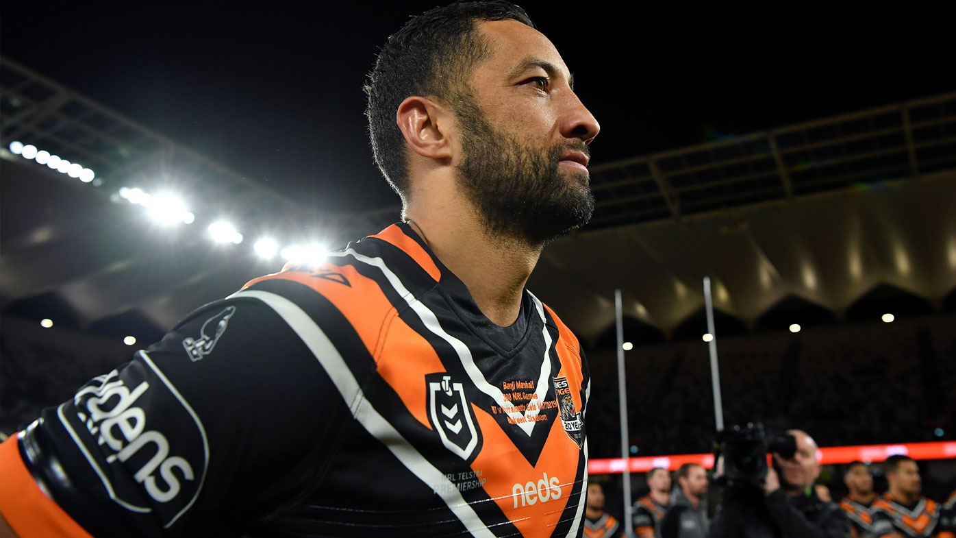 Benji Marshall celebrates his 300th NRL game