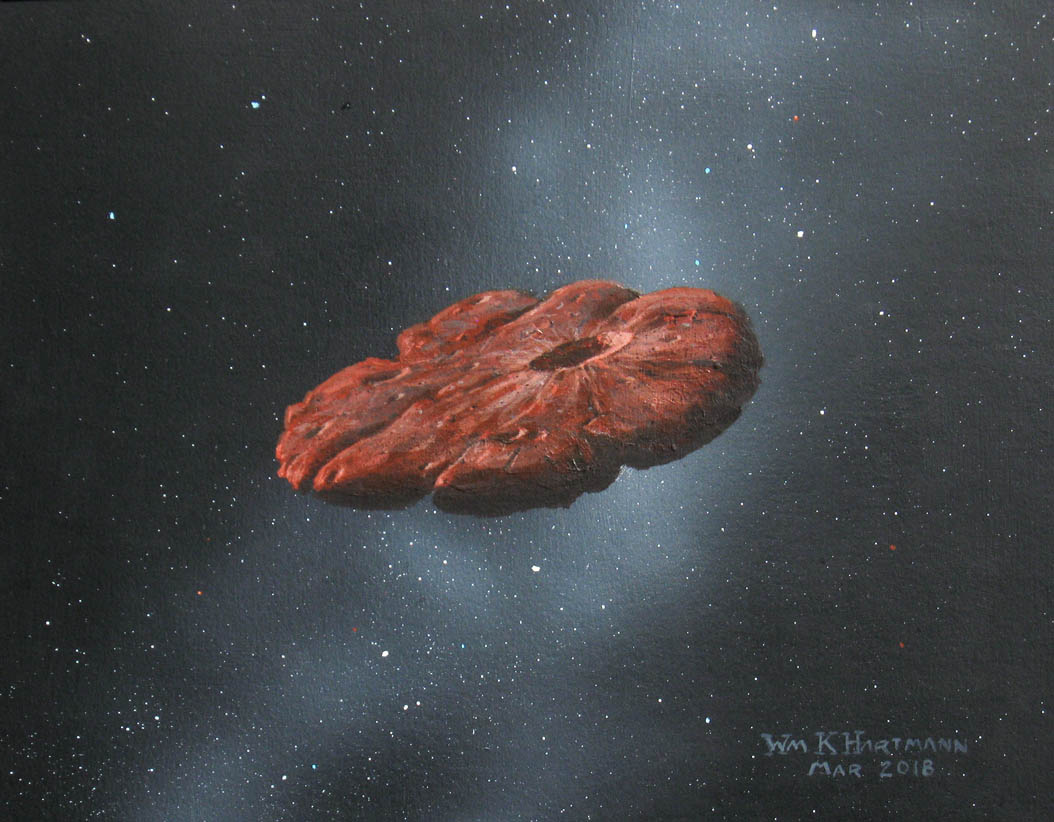 Artist's concept of the 'Oumuamua interstellar object as a pancake-shaped disc. Credit: William Hartmann