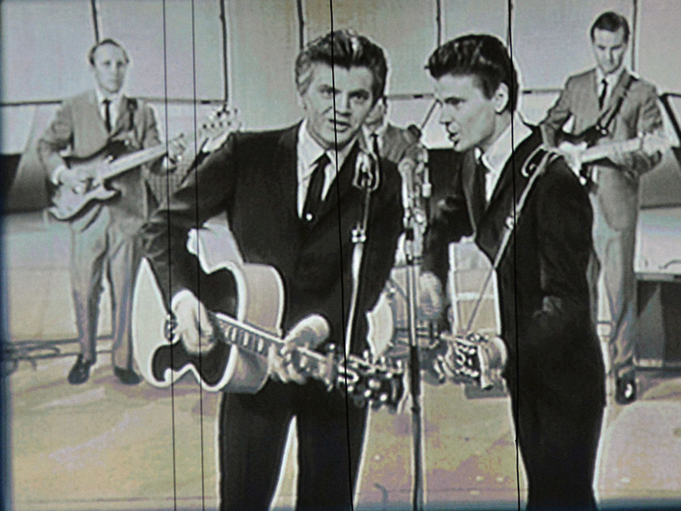 A video still of the Everly Brothers, featuring Phil (left) and Don (right).