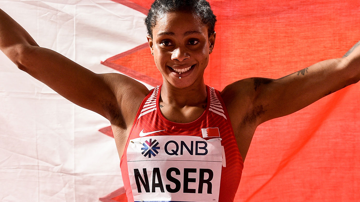 Salwa Eid Naser of Bahrain celebrates after winning the Women's 400m Final during day seven of the 17th IAAF World Athletics Championships in Doha in  2019.