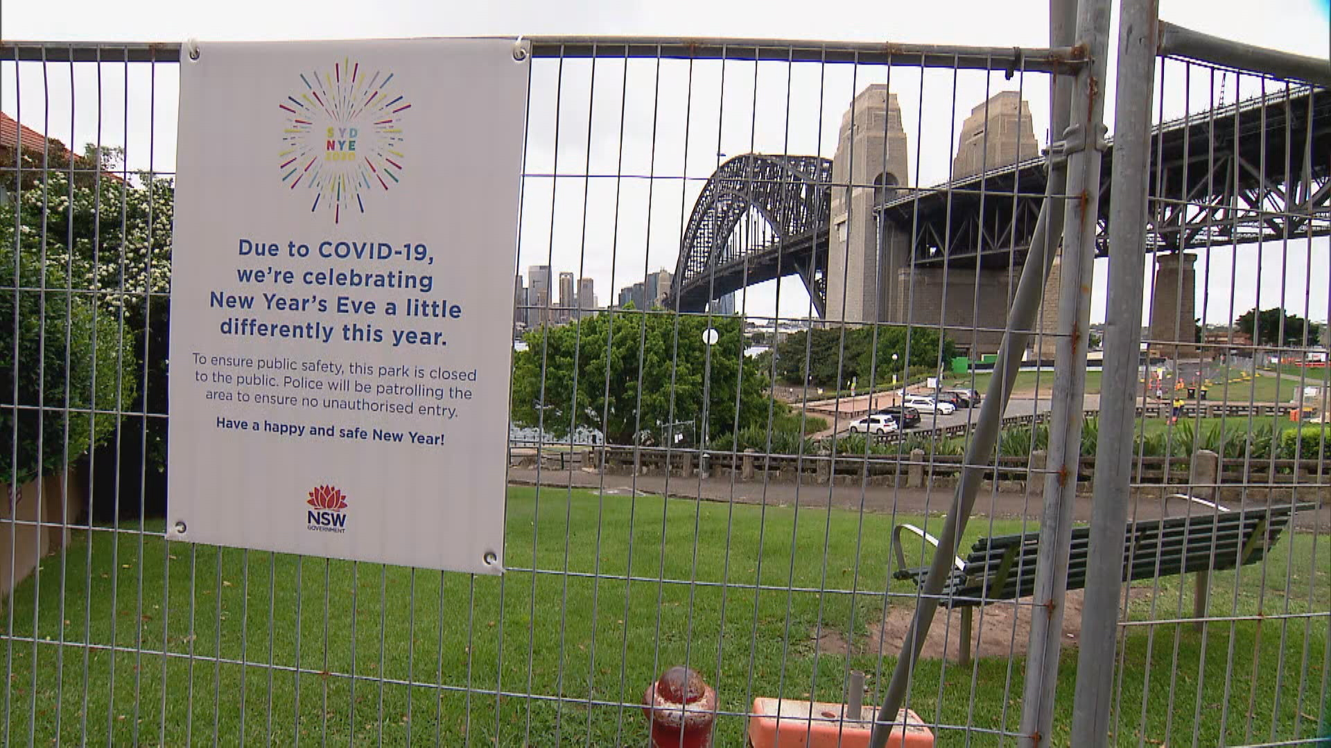 Plans to give frontline workers a prime spot to watch Sydney's New Year's Eve fireworks were scrapped earlier this week and much of the harbour has now been fenced off.