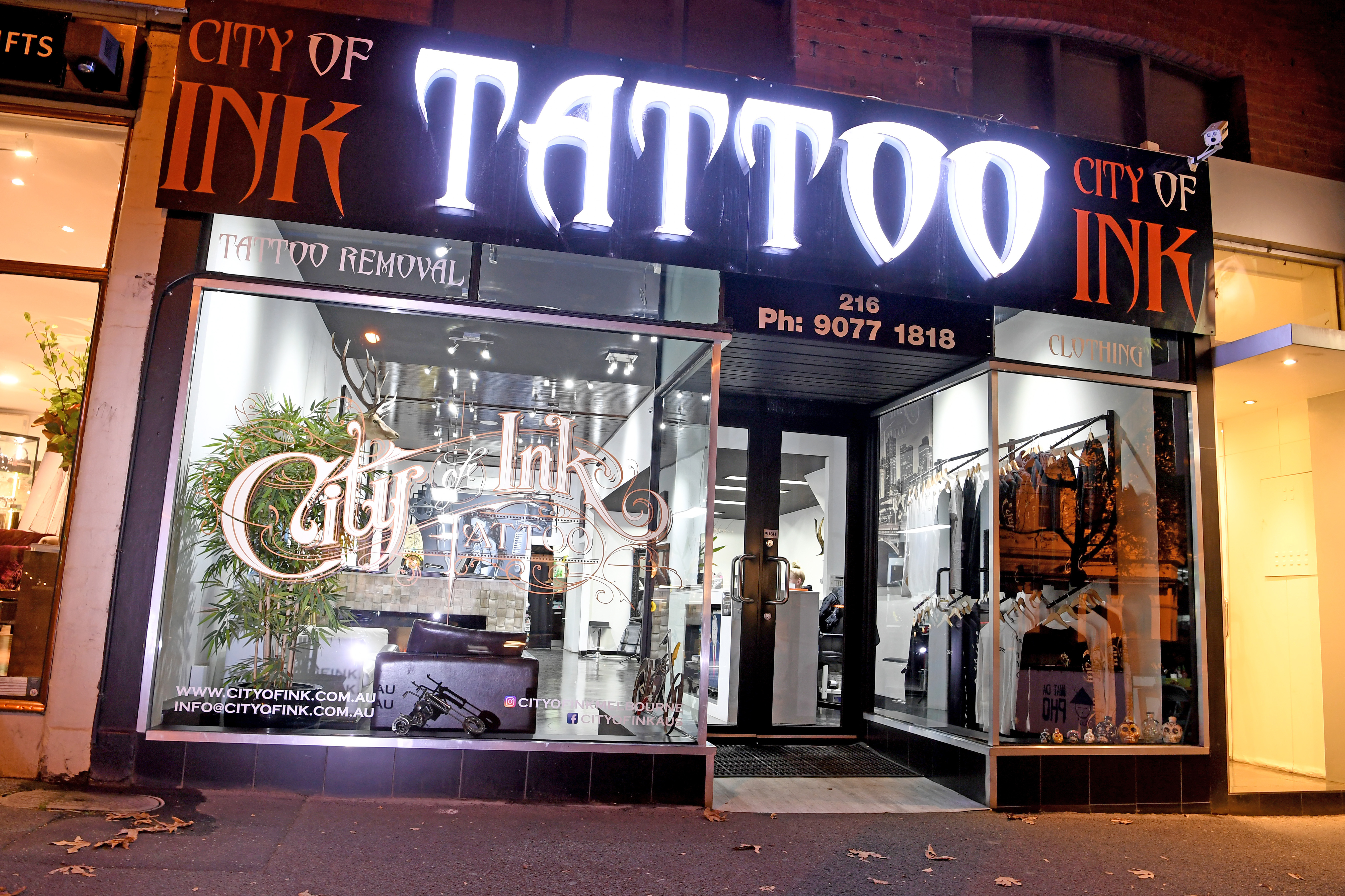 A file photo of former Richmond player Jake King's Melbourne tattoo parlour, which was part of this morning's police operation.