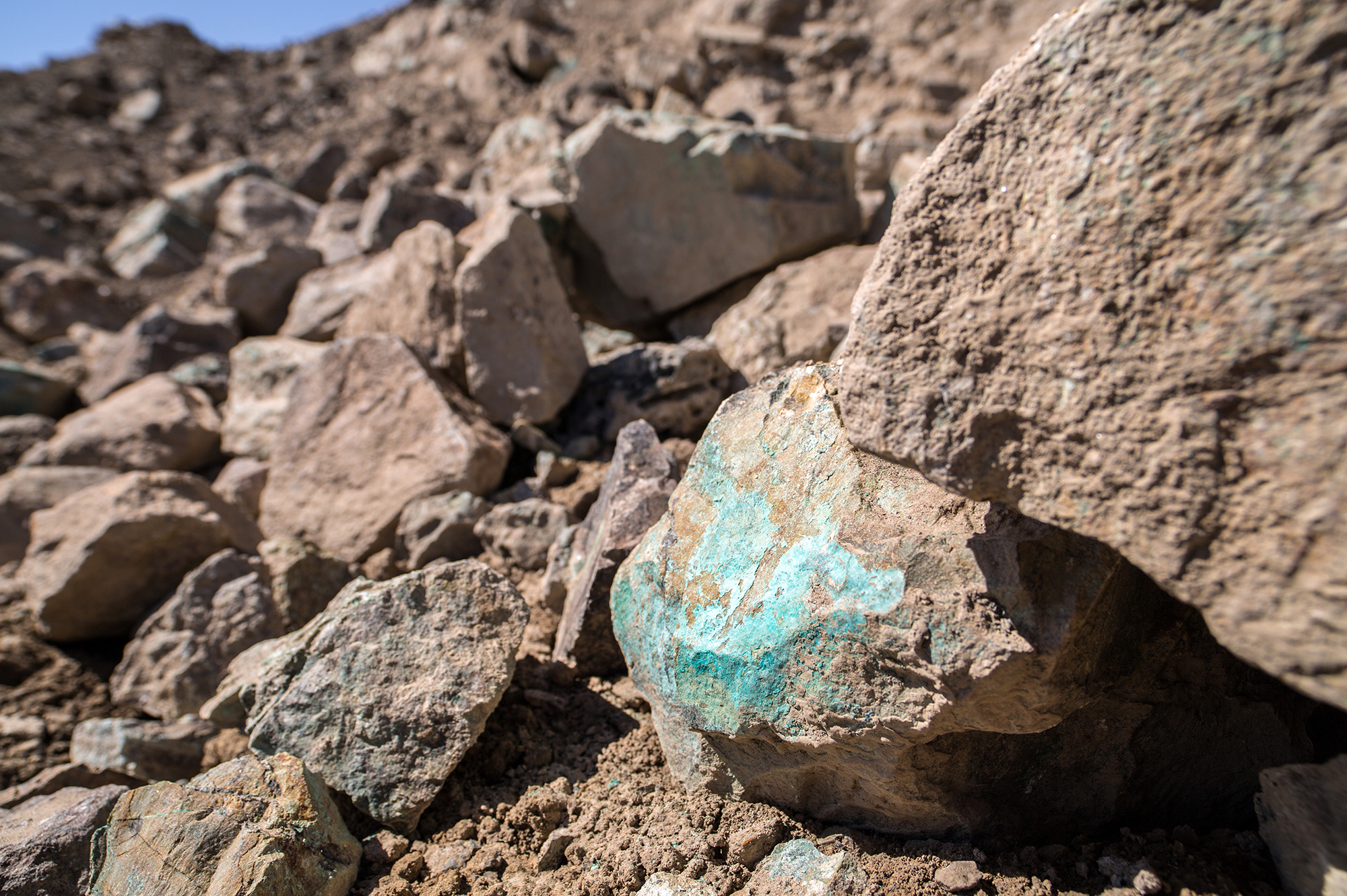 Copper ore is seen at Aynak, Logar Province, Afghanistan. The copper deposits are so rich that the bones of animals recovered by archaeologists on the site are green from metal leaching into them. A giant copper mine that the Afghan government has made the centerpiece of its plans for building an economy nearly from scratch is now at least five years behind schedule and the state-owned Chinese company that won the bidding has missed key deadlines in its still-secret contract with the Afghan gove