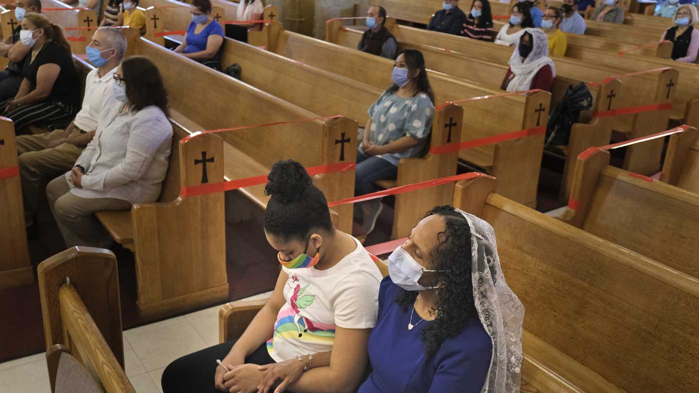 Coronavirus cases are on a clear decline in New Jersey, where churches are open but social distancing enforced.